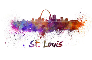 Wall Mural - St Louis skyline in watercolor