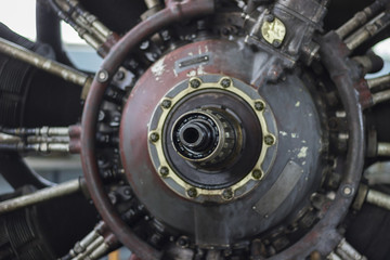 Jet engine of a vintage airplane