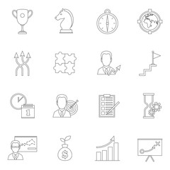 Business strategy planning icon outline