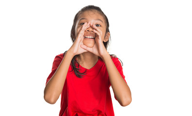 Young Asian Malay girl with shouting expression