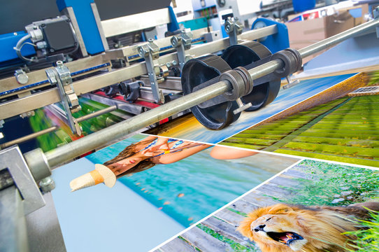 Close up of an offset printing machine