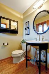 Modern black and white washbasin stand with glass shelf