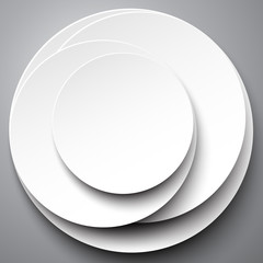 White circle design on the grey background, vector illustration