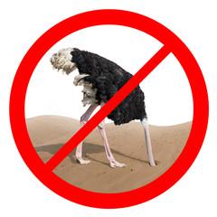 Zelfklevend Fotobehang Struisvogel Ostrich behavior forbidden red sign concept