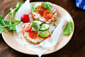 Bruschetta with cheese and vegetables
