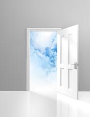 Door to heaven, spirituality concept of a doorway and clouds