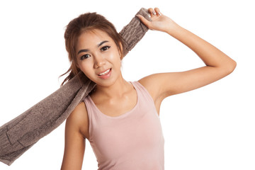 Happy Asian thin girl workout hold towel