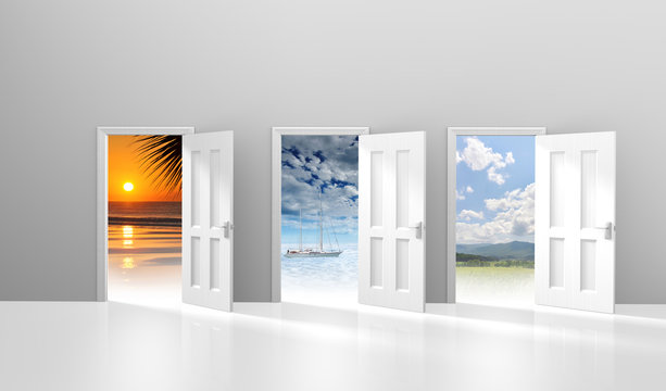Choice of doors opening to vacation destinations