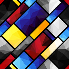 Geometric pattern in Mondrian's style
