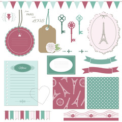 Cute scrapbook design elements set.
