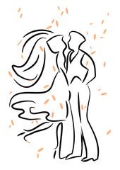 Couple de danseurs au trait