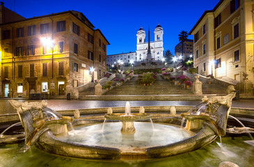 Poster Rome Spanish Steps at night. Rome - Italy