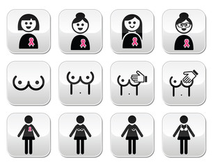 Breast cancer, woman with pink ribbon buttons set