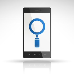magnifying glass icon on mobile phone