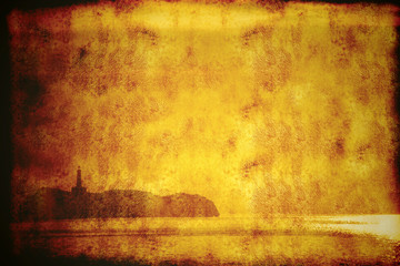 Island and lighthouse on vintage background