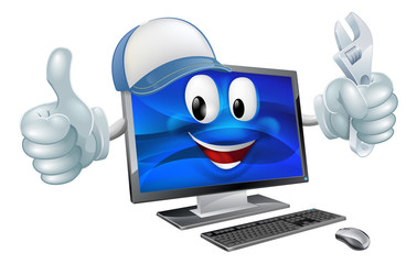 Computer repair cartoon character