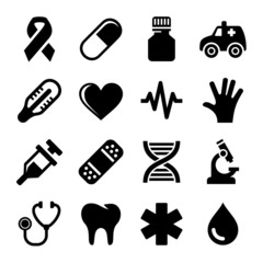 Medical and Health Icons Set. Vector