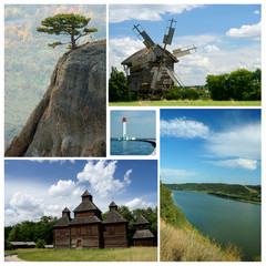 Collage of ukrainian cultural and nature landmarks