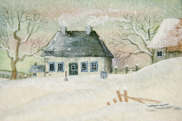 Old house in the snow, painted digitally