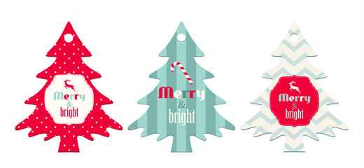 Three christmas  tags in shape of tree