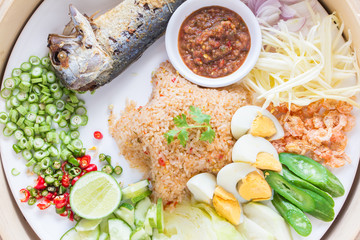Fried rice with Shrimp paste, Thai style food.
