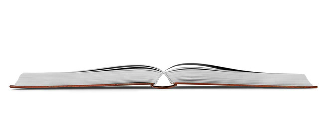 new open book on an isolated white background