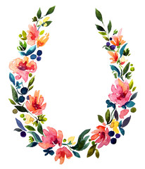 hand painted watercolor wreath. Flower decoration