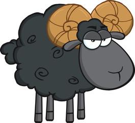 Angry Black Ram Sheep Cartoon Mascot Character