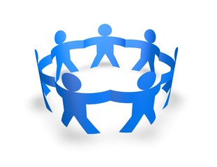team, teamwork concept with blue 3d people holding hands