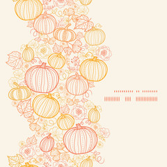 Vector thanksgiving line art pumkins vertical frame seamless