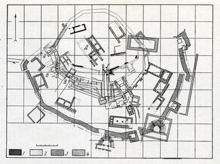 Plans of Troy: 1-Troy I, 2-Troy II, 3-Troy VI, 4-Troy IX