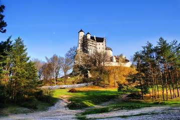 View of the medieval castle in Bobolice, Poland