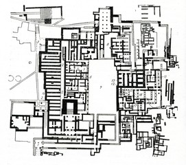 Plan of Knossos palace (Crete, Greece)