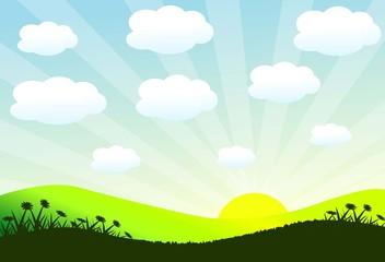 Sunrise & Cloud Landscape-Vector