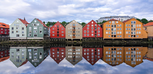 Poster Scandinavia Summer panorama landscape of Trondheim city architecture