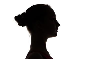 Silhouette of teenage girl's head