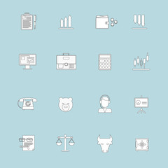 Finance exchange icons flat line