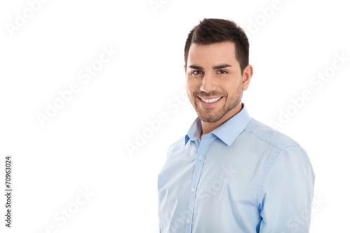 Bewerbungsfoto Attraktiver Junger Business Mann Isoliert