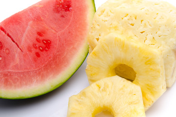 Slice of watermelon and pineapple