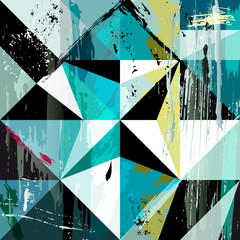 abstract triangle composition, with strokes, splashes and geom