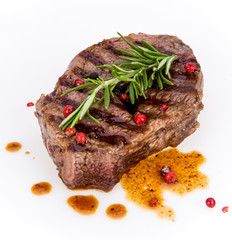 Beef steak on white background