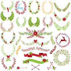 Vector Collection of Christmas Holiday Themed Laurels