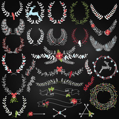 Vector Collection of Chalkboard Christmas Holiday Themed Laurels