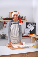 Happy young woman smiling happy having fun with Christmas