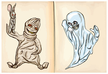 boogey and ghost - hand drawings, vector
