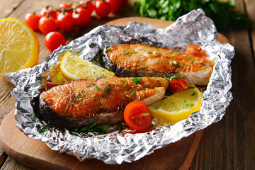 Printed roller blinds Fish Tasty baked fish in foil on table close-up