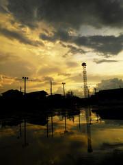 Sky on a sunset after a thunderstorm
