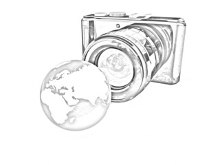 3d illustration of photographic camera and Earth. Pencil drawing