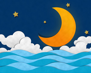 Crescent Moon at Sea