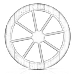 wooden wheel. Pencil drawing